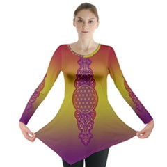 Flower Of Life Vintage Gold Ornaments Red Purple Olive Long Sleeve Tunic  by EDDArt