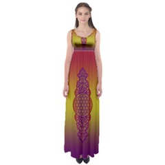 Flower Of Life Vintage Gold Ornaments Red Purple Olive Empire Waist Maxi Dress by EDDArt