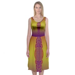 Flower Of Life Vintage Gold Ornaments Red Purple Olive Midi Sleeveless Dress by EDDArt