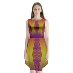 Flower Of Life Vintage Gold Ornaments Red Purple Olive Sleeveless Chiffon Dress   by EDDArt