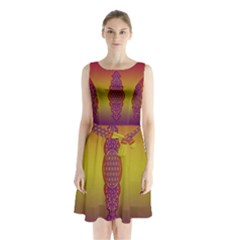 Flower Of Life Vintage Gold Ornaments Red Purple Olive Sleeveless Chiffon Waist Tie Dress by EDDArt