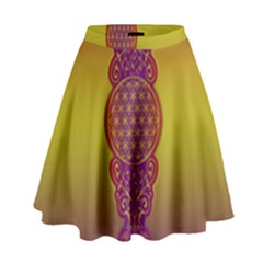 Flower Of Life Vintage Gold Ornaments Red Purple Olive High Waist Skirt by EDDArt