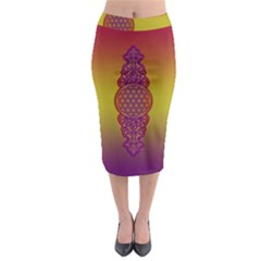 Flower Of Life Vintage Gold Ornaments Red Purple Olive Midi Pencil Skirt by EDDArt