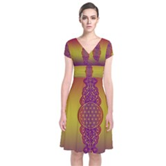 Flower Of Life Vintage Gold Ornaments Red Purple Olive Short Sleeve Front Wrap Dress by EDDArt