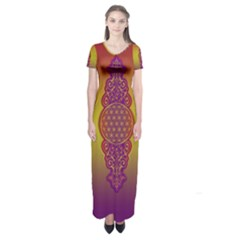 Flower Of Life Vintage Gold Ornaments Red Purple Olive Short Sleeve Maxi Dress by EDDArt