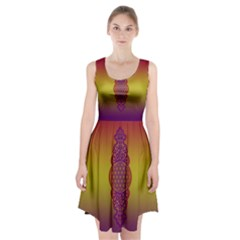 Flower Of Life Vintage Gold Ornaments Red Purple Olive Racerback Midi Dress by EDDArt