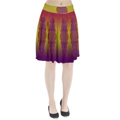 Flower Of Life Vintage Gold Ornaments Red Purple Olive Pleated Skirt by EDDArt