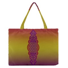 Flower Of Life Vintage Gold Ornaments Red Purple Olive Medium Zipper Tote Bag by EDDArt
