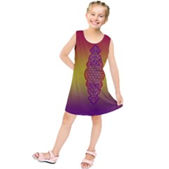 Flower Of Life Vintage Gold Ornaments Red Purple Olive Kids  Tunic Dress by EDDArt