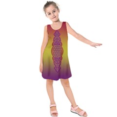 Flower Of Life Vintage Gold Ornaments Red Purple Olive Kids  Sleeveless Dress by EDDArt