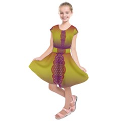 Flower Of Life Vintage Gold Ornaments Red Purple Olive Kids  Short Sleeve Dress by EDDArt