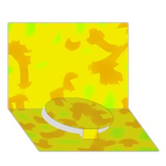 Simple Yellow Circle Bottom 3d Greeting Card (7x5)