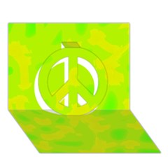 Simple Yellow And Green Peace Sign 3d Greeting Card (7x5) by Valentinaart