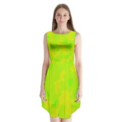 Simple Yellow And Green Sleeveless Chiffon Dress   by Valentinaart