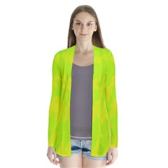 Simple yellow and green Drape Collar Cardigan by Valentinaart