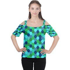 Camo Hexagons In Blue Women s Cutout Shoulder Tee by fashionnarwhal