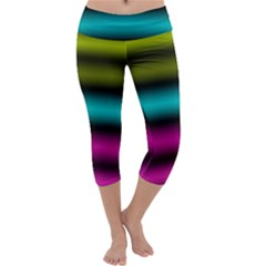 Dark Green Mint Blue Lilac Soft Gradient Capri Yoga Leggings by designworld65