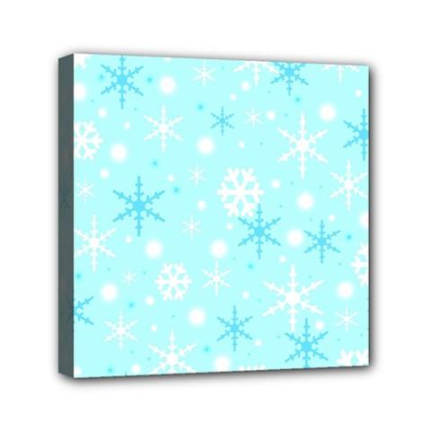 Blue Xmas Pattern Mini Canvas 6  X 6  by Valentinaart
