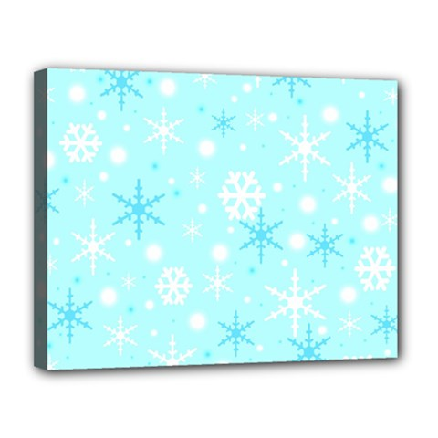 Blue Xmas Pattern Canvas 14  X 11  by Valentinaart
