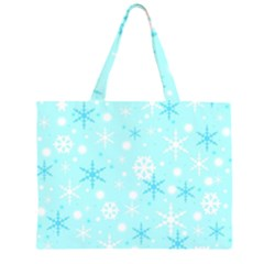 Blue Xmas Pattern Zipper Large Tote Bag by Valentinaart