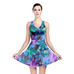 Blue On Purple Vintage Flowers Reversible Skater Dress by KirstenStar
