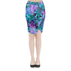 Blue On Purple Vintage Flowers Midi Wrap Pencil Skirt by KirstenStar