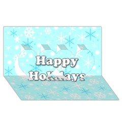 Happy Holidays Blue Pattern Twin Hearts 3d Greeting Card (8x4) by Valentinaart