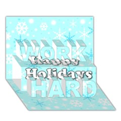 Happy Holidays Blue Pattern Work Hard 3d Greeting Card (7x5) by Valentinaart