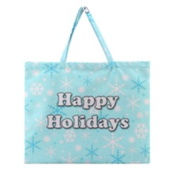 Happy Holidays Blue Pattern Zipper Large Tote Bag by Valentinaart