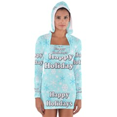 Happy holidays blue pattern Women s Long Sleeve Hooded T-shirt by Valentinaart