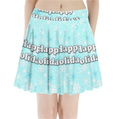 Happy Holidays Blue Pattern Pleated Mini Skirt by Valentinaart