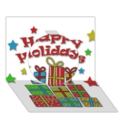 Happy Holidays - gifts and stars Circle 3D Greeting Card (7x5) by Valentinaart