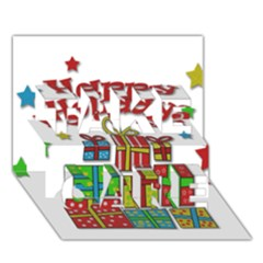 Happy Holidays   Gifts And Stars Take Care 3d Greeting Card (7x5)