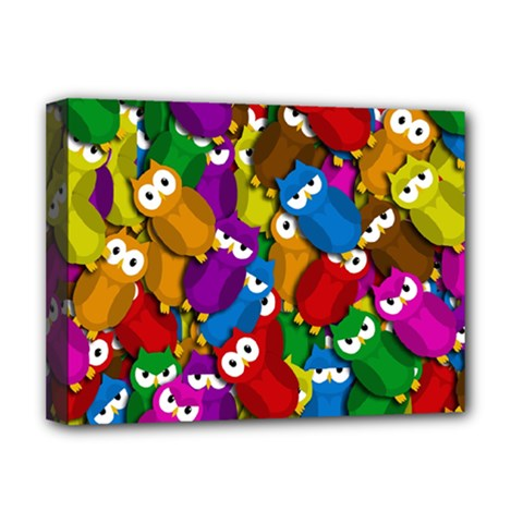 Cute Owls Mess Deluxe Canvas 16  X 12   by Valentinaart