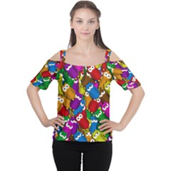 Cute Owls Mess Women s Cutout Shoulder Tee by Valentinaart