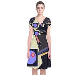 Construction Short Sleeve Front Wrap Dress by Valentinaart
