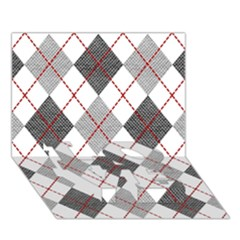 Fabric Texture Argyle Design Grey Love Bottom 3d Greeting Card (7x5) by AnjaniArt