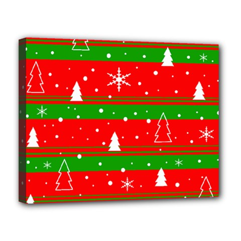Xmas Pattern Canvas 14  X 11  by Valentinaart