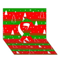 Xmas Pattern Ribbon 3d Greeting Card (7x5)