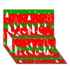 Xmas Pattern You Rock 3d Greeting Card (7x5) by Valentinaart