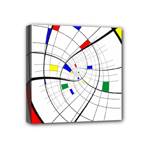 Swirl Grid With Colors Red Blue Green Yellow Spiral Mini Canvas 4  X 4  by designworld65