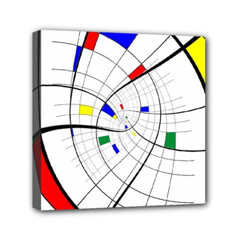 Swirl Grid With Colors Red Blue Green Yellow Spiral Mini Canvas 6  X 6  by designworld65