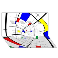Swirl Grid With Colors Red Blue Green Yellow Spiral Twin Hearts 3d Greeting Card (8x4) by designworld65