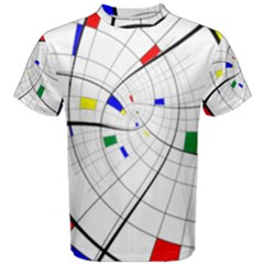 Swirl Grid With Colors Red Blue Green Yellow Spiral Men s Cotton Tee by designworld65