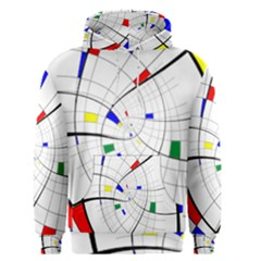 Swirl Grid With Colors Red Blue Green Yellow Spiral Men s Pullover Hoodie by designworld65