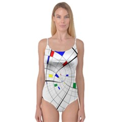 Swirl Grid With Colors Red Blue Green Yellow Spiral Camisole Leotard  by designworld65