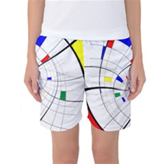 Swirl Grid With Colors Red Blue Green Yellow Spiral Women s Basketball Shorts by designworld65