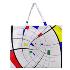 Swirl Grid With Colors Red Blue Green Yellow Spiral Zipper Large Tote Bag by designworld65