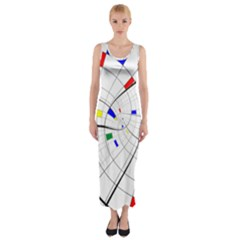 Swirl Grid With Colors Red Blue Green Yellow Spiral Fitted Maxi Dress by designworld65
