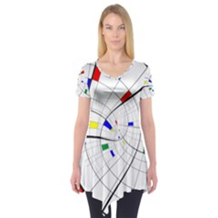 Swirl Grid With Colors Red Blue Green Yellow Spiral Short Sleeve Tunic  by designworld65